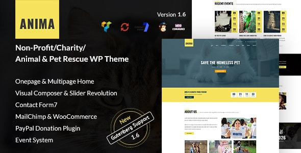 Anima - WordPress Non-Profit Charity Theme for Pet Rescue and Animal Shelter - Charity Nonprofit