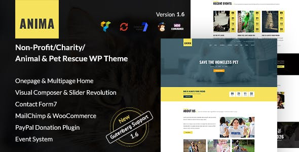 Anima - WordPress Non-Profit Charity Theme for Pet Rescue and Animal Shelter