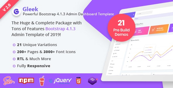 Gleek | Powerful Bootstrap 4 Admin Dashboard Template by