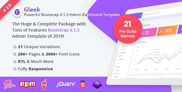 Gleek | Powerful Bootstrap 4 Admin Dashboard Template - Admin Templates Site Templates