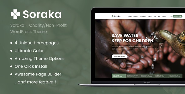 Charity Theme - Soraka Non-profit Organization WordPress Theme - Charity Nonprofit
