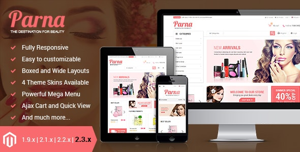 Parna - Responsive Multi-purpose Magento 1 and 2 Theme - Fashion Magento