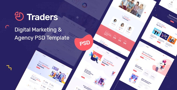 Traders - Digital Marketing & Agency PSD Template - Business Corporate