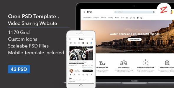 Oren: Video Sharing Website PSD Template