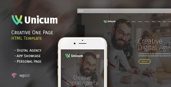 Unicum - One Page Creative HTML Template - Creative Site Templates