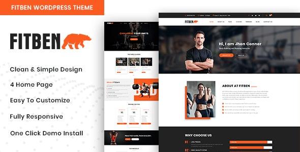 Fitben - Gym Fitness WordPress Theme - Health & Beauty Retail