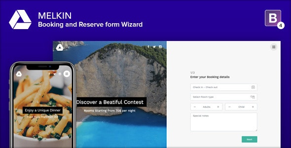 Melkin - Booking and Reserve Form Wizard - Specialty Pages Site Templates