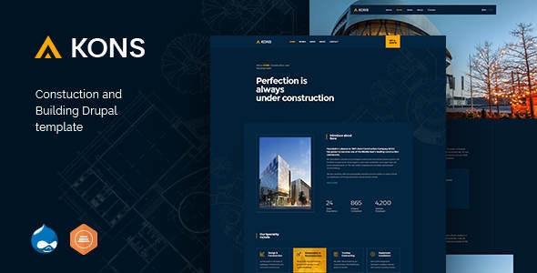 Kons v1.1 – Construction and Building Drupal 8 Theme