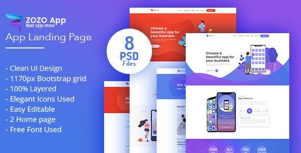 ZOZO-App Landing Page - Technology Photoshop