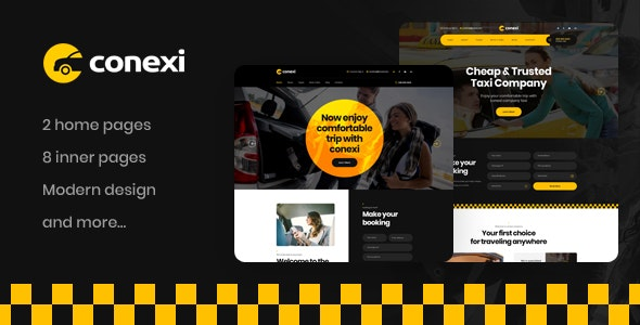 Conexi - Online Taxi Booking Service PSD Template - Business Corporate
