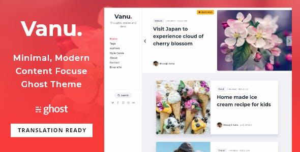 Vanu - Minimal Multipurpose Content Focused Ghost Blog Theme