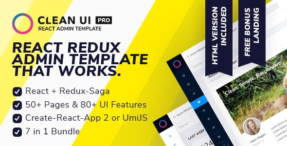 Clean UI React Pro — React Redux Admin Template + Html Version - Admin Templates Site Templates