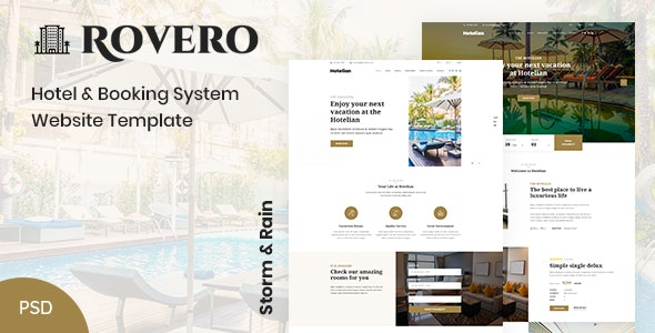 Rovero - Hotel & Booking Service Website PSD Template - Travel Retail