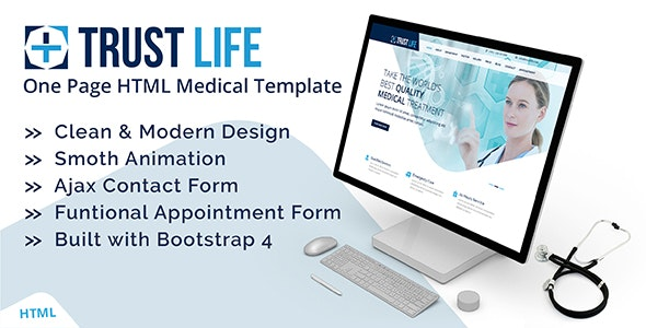 Trustlife - Medical and Health Landing Page HTML Template with RTL