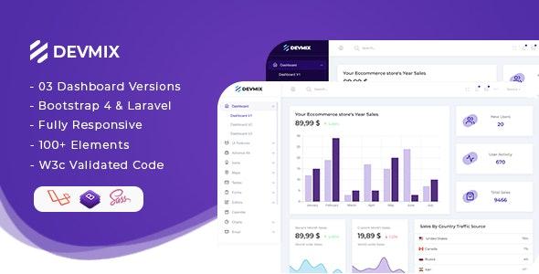 Devmix - Bootstrap 4 + Laravel Admin Dashboard Template - Admin Templates Site Templates