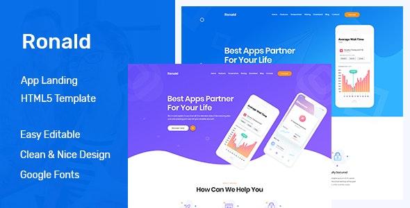 Ronald - App Landing HTML5 Template - Software Technology