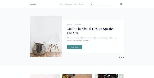 Quanta | Minimalist & Personal Blog PSD Template