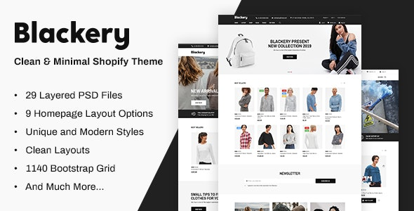 Blackery - Responsive eCommerce PSD Template - Fashion Retail