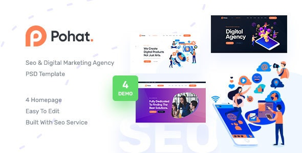 Pohat - SEO & Digital Marketing Agency PSD Template - Marketing Corporate