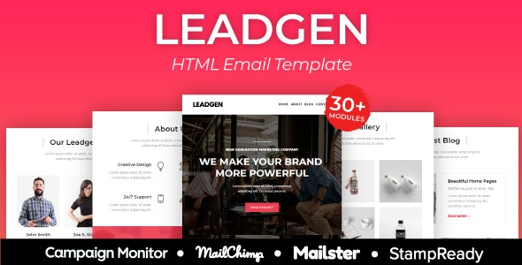 Leadgen - Multiprupose Responsive Agency Email Template + Stampready Builder + Mailster & Mailchimp - Newsletters Email Templates