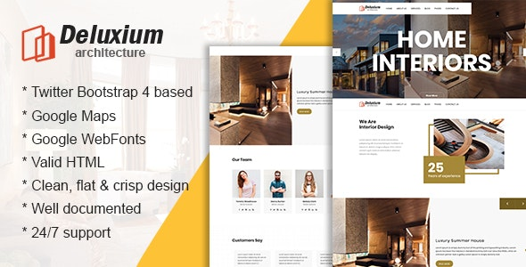 Deluxium - Architecture & Interior Design HTML Template - Business Corporate
