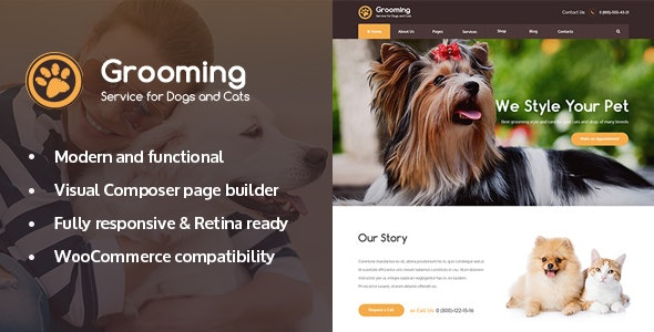 Grooming - Pet Shop & Veterinary Physician WordPress Theme - Retail WordPress