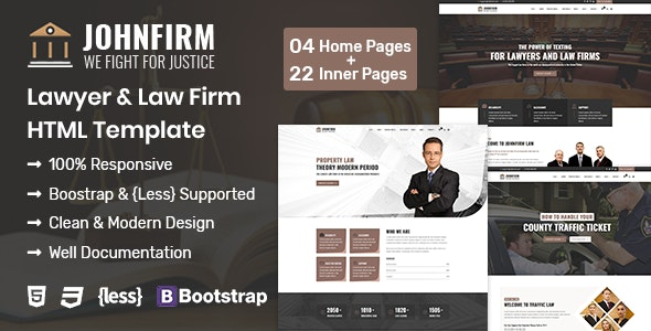 Johnfirm - Lawyer & Lawfirm HTML Template - Business Corporate