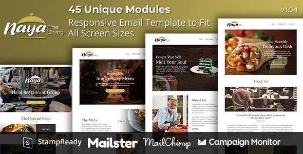 Naya - Fine Dining Responsive Email Template with Online Builder Stampready - Email Templates Marketing