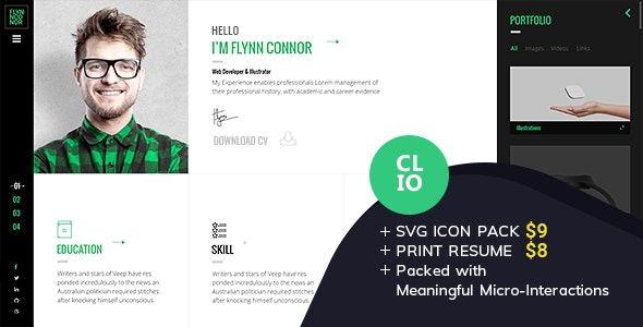 Clio - Personal Resume CV HTML Template - Resume / CV Specialty Pages