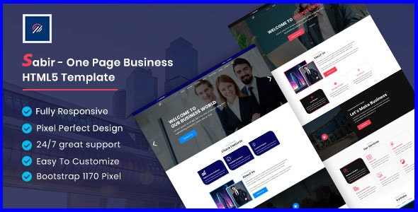 Sabir - One Page  Business HTML5 Template - Business Corporate