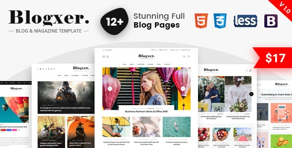 Bloxer - Blog & Magazine Bootstrap 4 Template - Corporate Site Templates