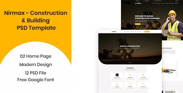 Nirmax  - Construction and Building PSD Template - Business Corporate