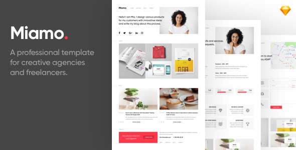 Miamo - A professional template for creative agencies and freelancers - Sketch Templates