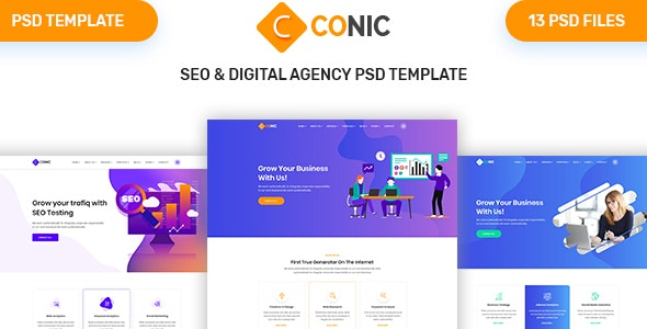 CONIC - SEO & Digital Agency PSD Template - Marketing Corporate