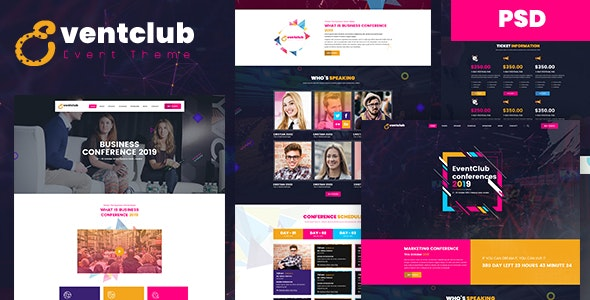 EventClub - Event and Conference PSD Template - Events Entertainment