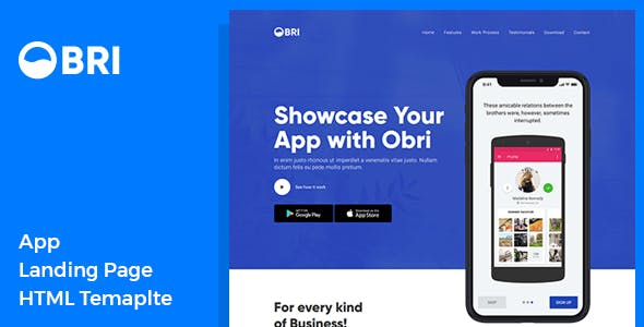 OBRI - App Landing Page HTML Template