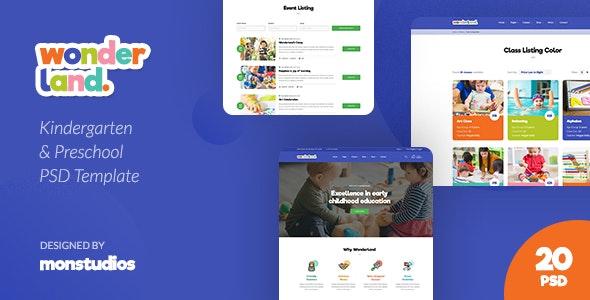 Wonderland - Kindergarten & Preschool PSD Template - Children Retail