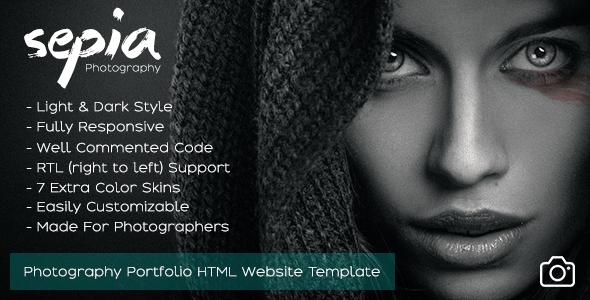 Sepia - Photography Portfolio HTML Website Template - Photography Creative