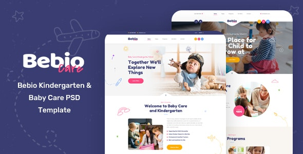 Bebio - Kindergarten & Baby Care PSD Template - Children Retail