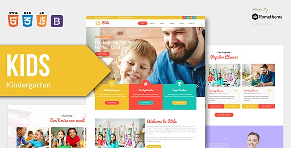 KIDS - Kindergarten and Child Care HTML Template - Retail Site Templates