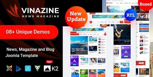 Vinazine - Joomla News Magazine Template - Blog / Magazine Joomla