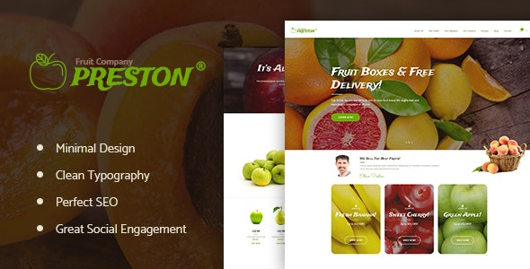 Preston | Fruit Company & Organic Farming WordPress Theme - Food Retail