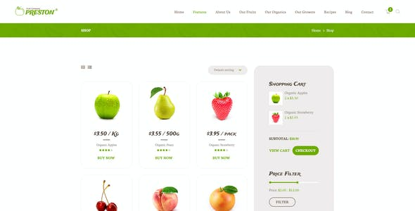 Preston | Fruit Company & Organic Farming WordPress Theme