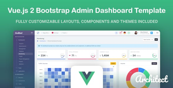 ArchitectUI - Vue js Bootstrap Admin UI Dashboard Template by the