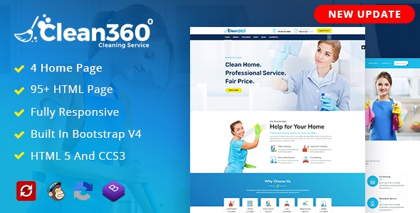 Clean360 - Cleaning, Pest Control Services HTML Template - Corporate Site Templates