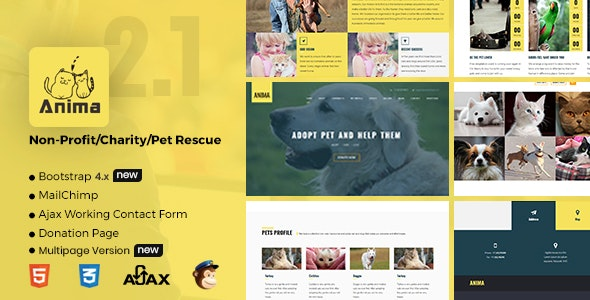 Anima - Responsive Pet Rescue and Shelter Template - Charity Nonprofit