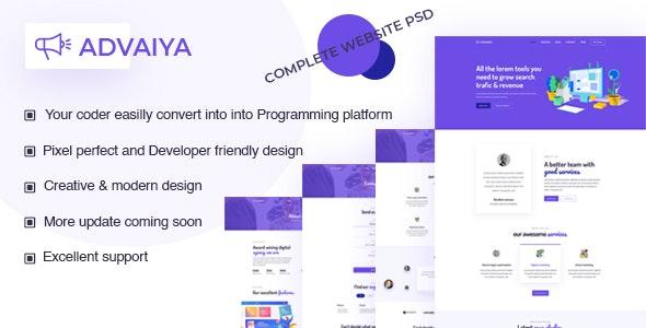 ADVAIYA - Digital Marketing & Agency PSD Template - Photoshop UI Templates