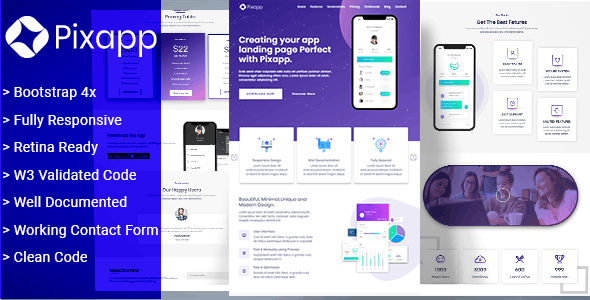 PixApp - App Landing Page Template - Apps Technology