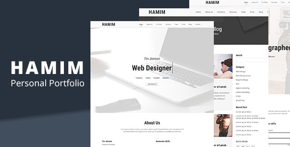 HAMIM - Minimal HTML  Landing Page Template - Portfolio Creative