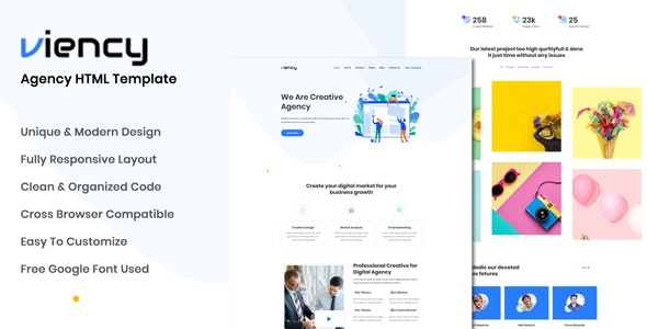 Viency - Agency HTML Template - Business Corporate